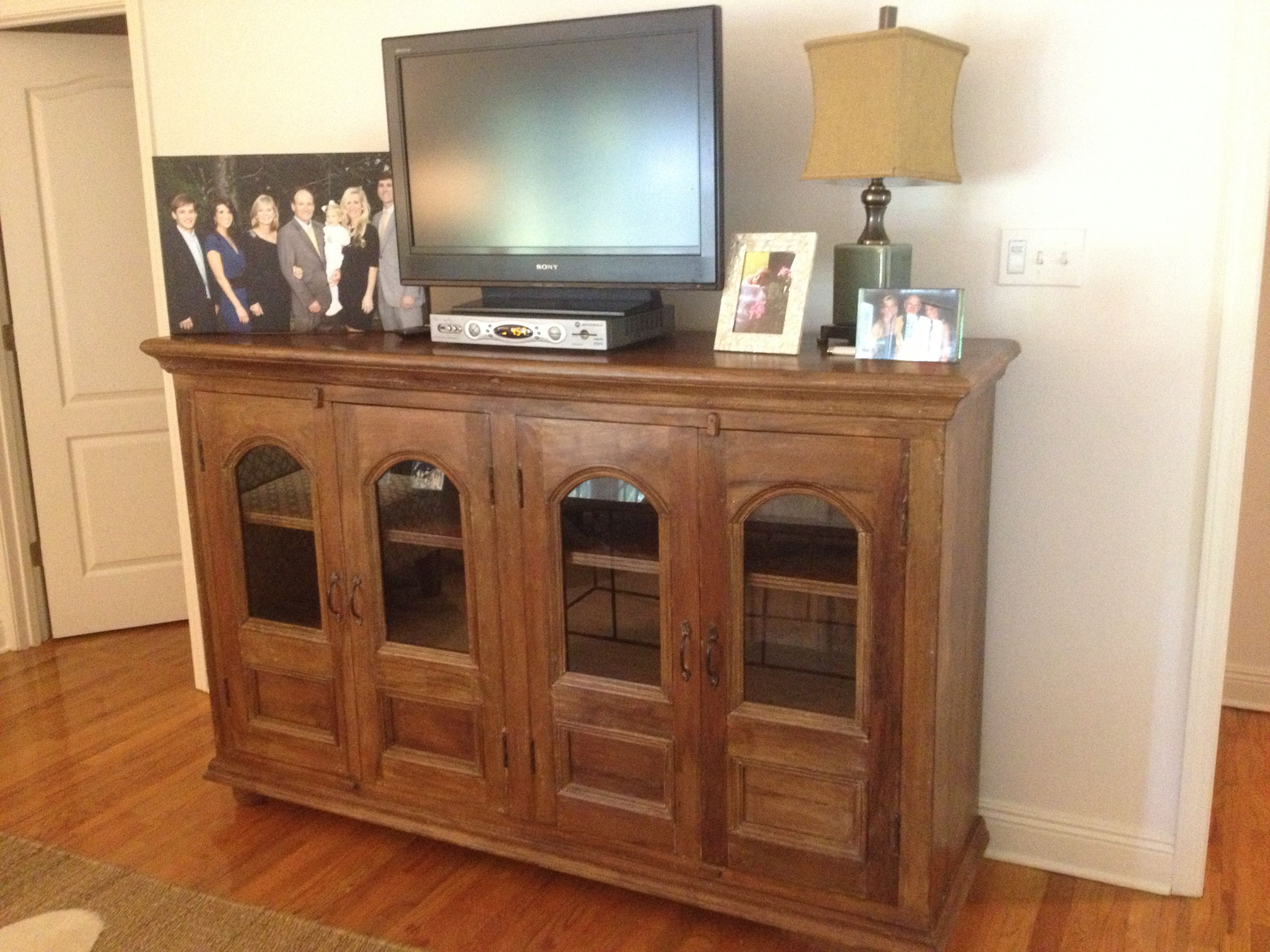 Glass front buffet from Discoveries used as a tv stand Customer Homes Pinterest Tv stands