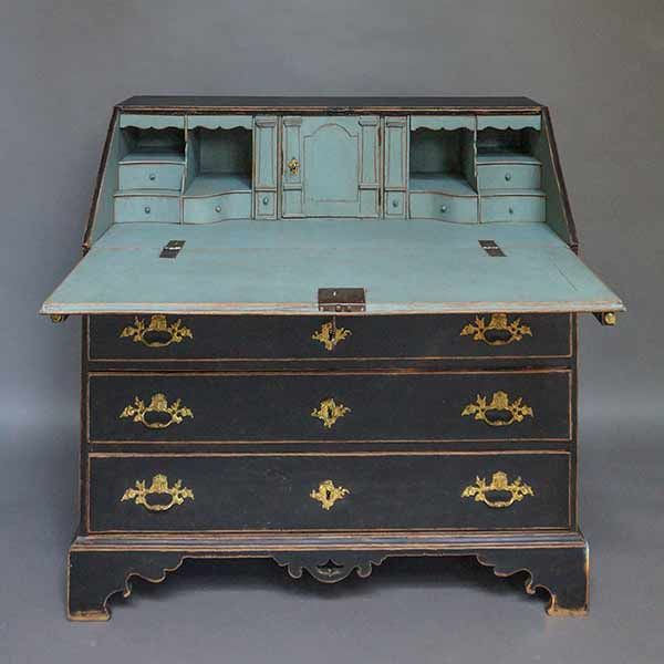 Period Slant Front Writing Desk Sweden Circa 1760 In Black Paint The Interior