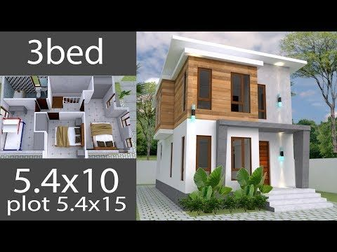 Small Home design Plan 5.4x10m with 3 Bedroom. This villa is modeling by SAM-ARCHITECT With Two story level. It's has 3 bedrooms with 2 Bathrooms