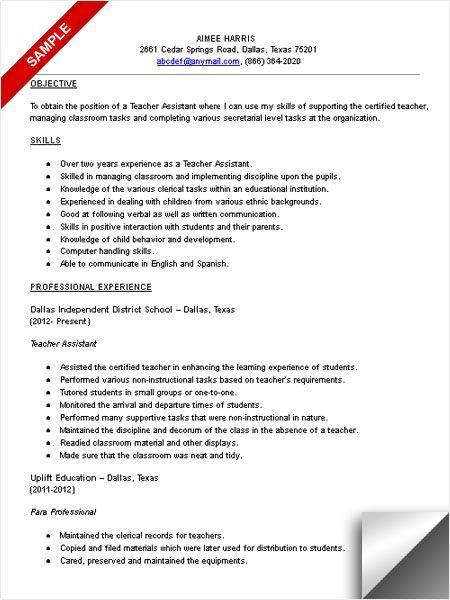 Teachers Aide Resume Teacher Assistant Resume Sample Resume Examples  Pinterest .