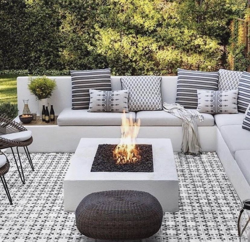 Amazing Modern Garden Fireplace Also Black Laminated Wooden Dining Table Also Black Iron Bar Stool With Gr Fire Pit Landscaping Backyard Fire Fire Pit Backyard