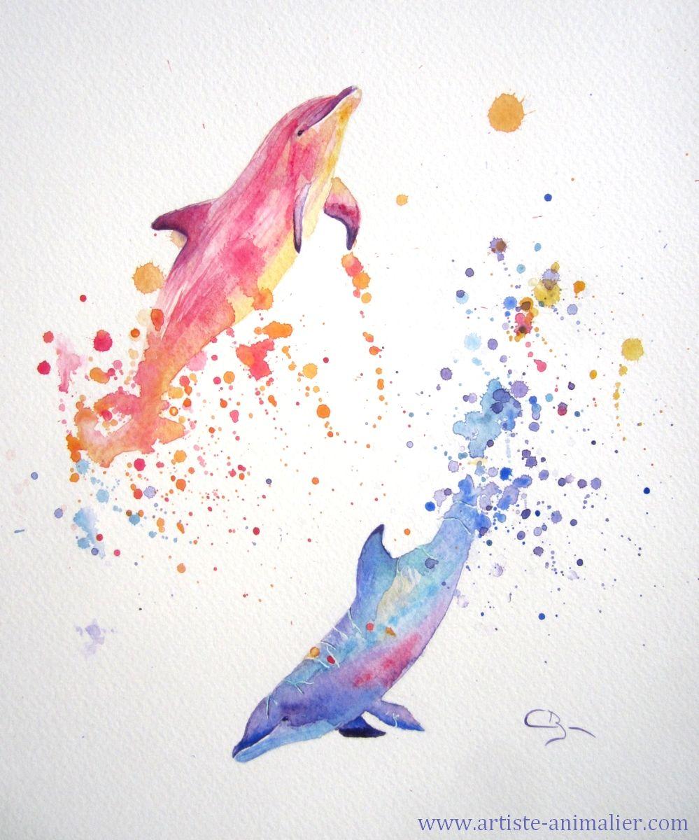 Aquarelle De Dauphins Peinture De Cindy Barillet Dauphin