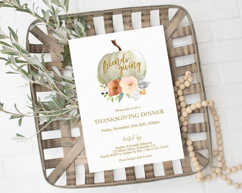 Friendsgiving Invitation Thanksgiving Dinner Invite Printable Editable Template White Pumpkin Watercolor Fall Floral Instant Download Printable Thanksgiving Invitation Thanksgiving Design Thanksgiving Invitation