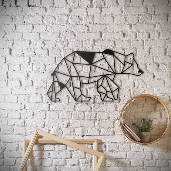 d coration murale m tal design de notre ours en origami disponible sur artwall and co. Black Bedroom Furniture Sets. Home Design Ideas