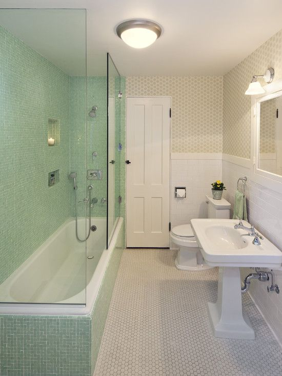 Overall Bathroom Look Tile Height But With Blue Grey Glass Insert