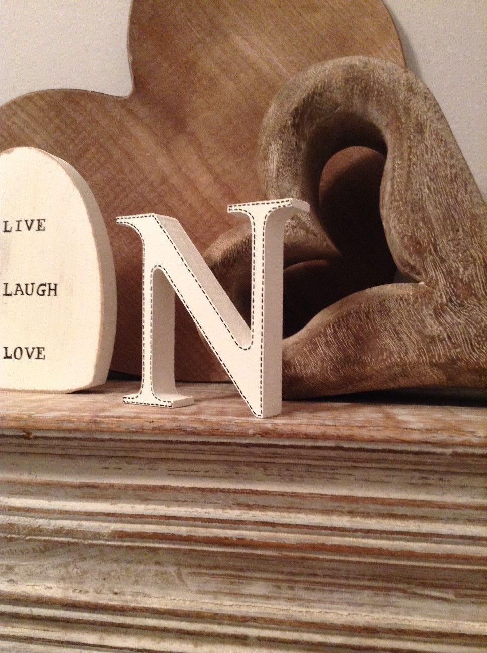 Freestanding Wooden Wedding Letter N 28cm Georgia Style Font
