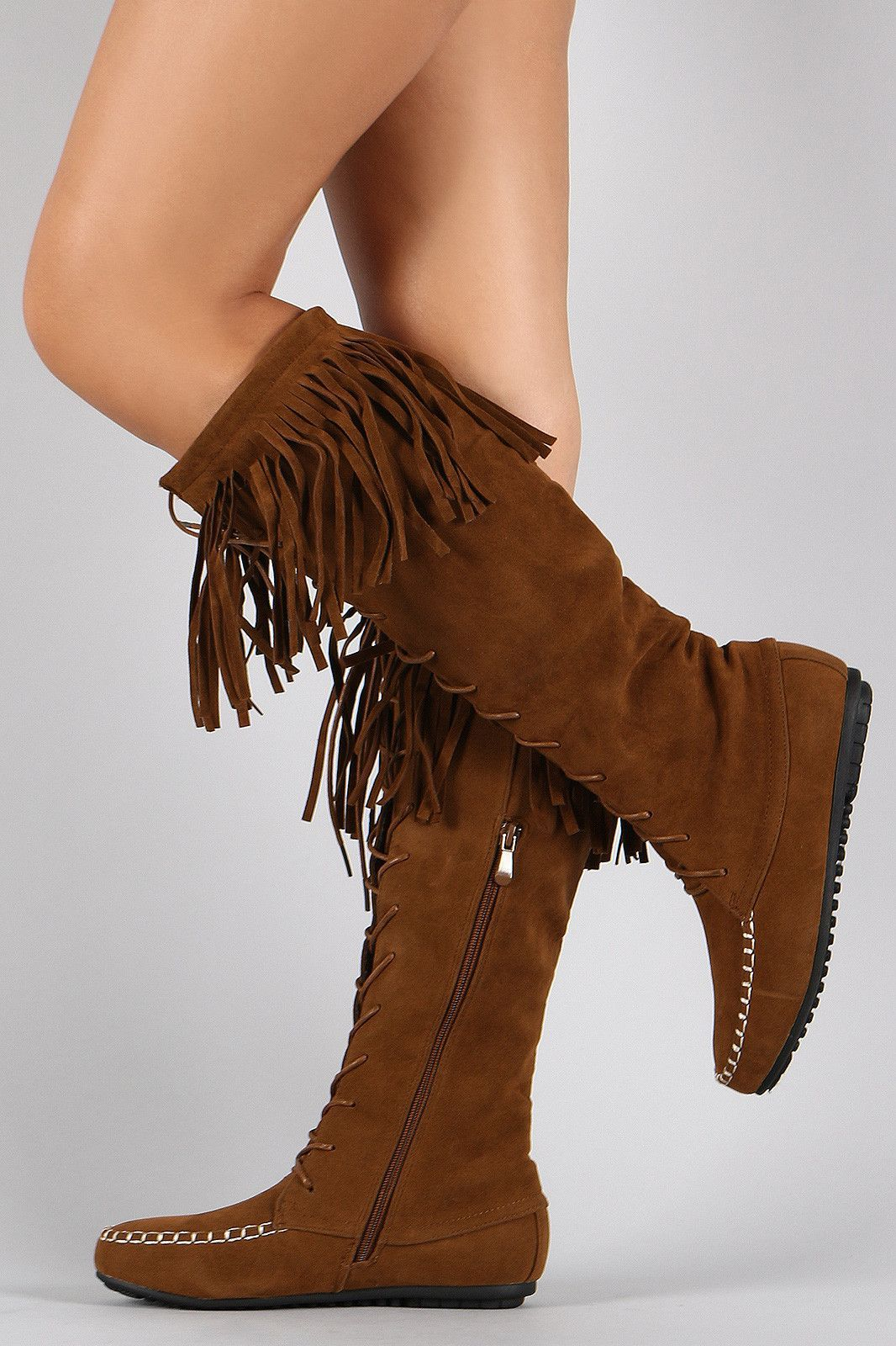 Minnetonka suede leather knee high tall lace up moccasin fringe boots - Suede Fringe Moccasin Lace Up Knee High Flat Boot