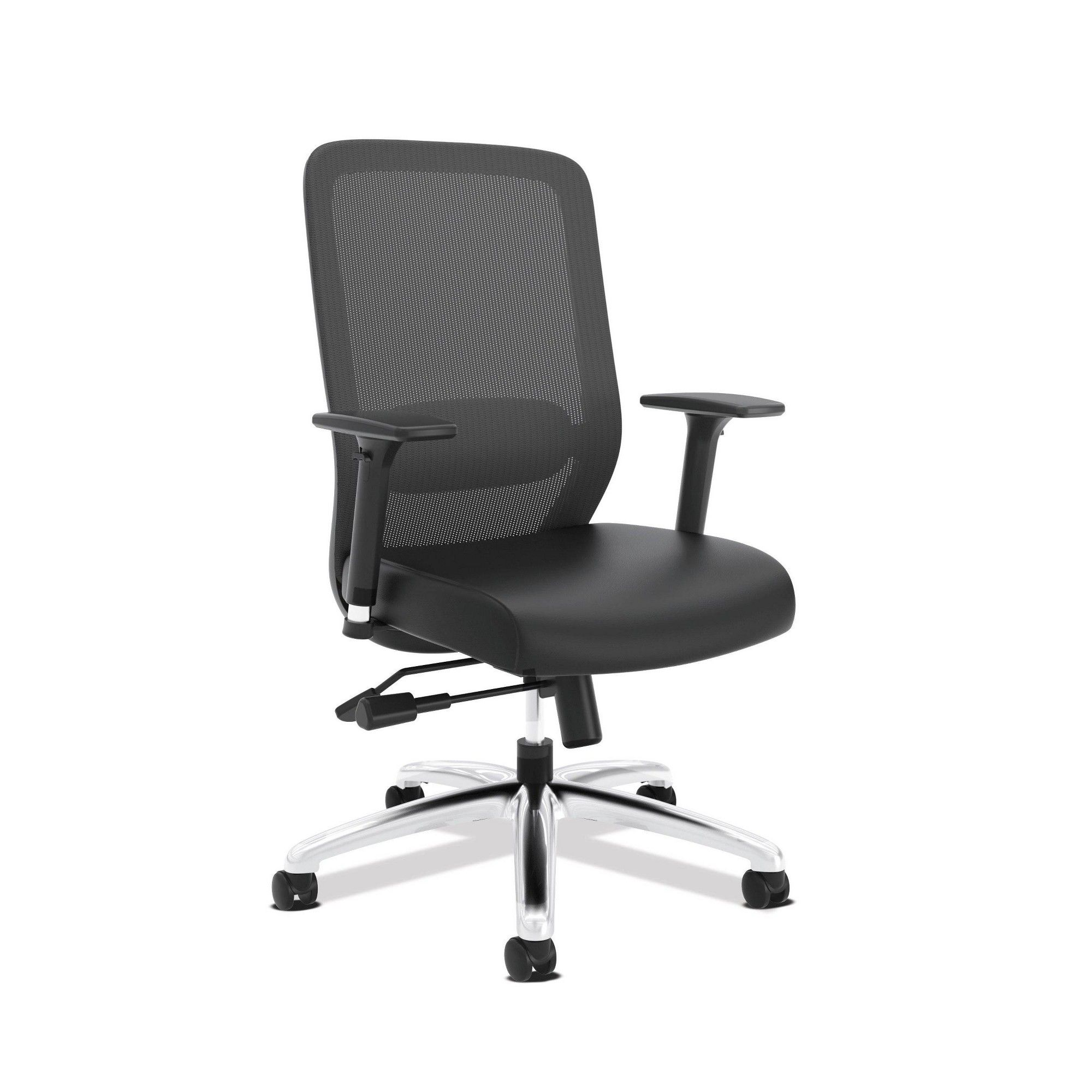 Exposure Mesh High Back Computer Chair With Leather Seat Black