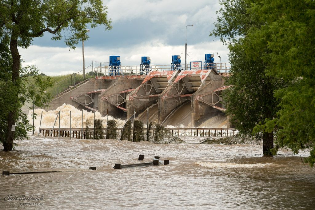 Flood gates open at local dam (Sanford MI) during late