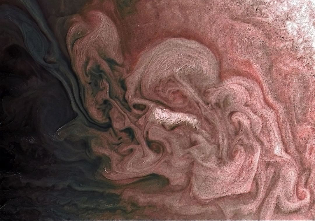 Photos-of-space: Rose-Colored storm on Jupiter captured by Juno spacecraft [1080 x 758] - #a #astro #beautiful #because #Day! #dynamics #fluid #for #I #instabilities #it #just #looks #love #make #should #some #tag #the #Way