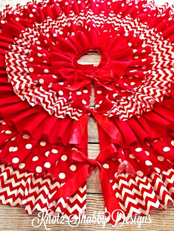 50 Inch Red Chevron and Polka Dot Ruffled Tree Skirt | Red chevron, Indoor christmas decorations ...