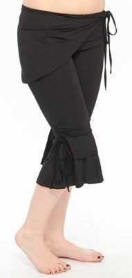 """Tribal fusion capris with skirt. $14.99, available in a rainbow of colors. One size, supposed to fit 4-10, but reportedly runs small. One commenter said """"I normally wear an 8, and these are a bit small on me."""""""