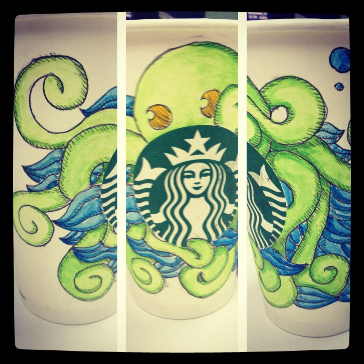 Green octopus cup. Drawings, Art, Starbucks cups