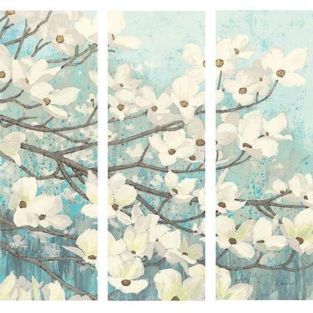 Tryptic Dogwood Blossum Canvas Wall Art - Walmart.com   Decorating ...