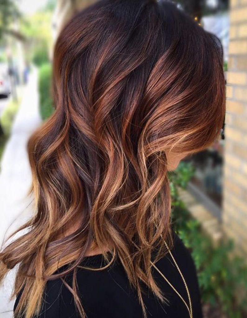 balayage cuivr sur brune couleur cheveux pinterest cheveux couleur cheveux et coloration. Black Bedroom Furniture Sets. Home Design Ideas