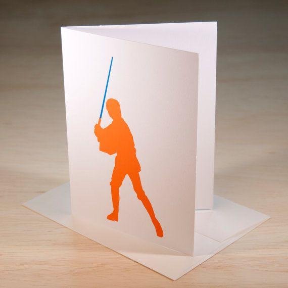Luke Skywalker Hand Screen Printed Card by ChrisVoellerArt on Etsy