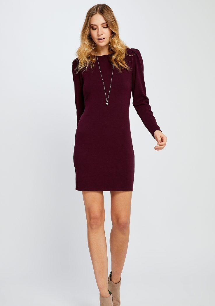 4b9534a421c4 Burgundy dress outfit with beige bootie and long necklace