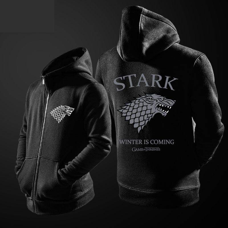 Game Of Thrones House Stark Wolf Hoodie Grey Direwolf Zipper Sweater Hoodies Game Of Thrones Hoodie Wolf Hoodie