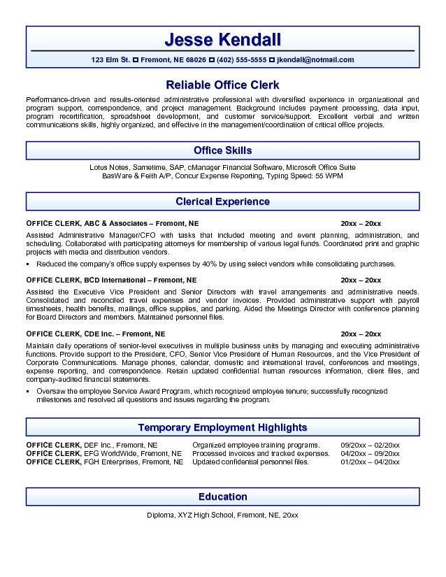 office resume examples - Google Search resume Pinterest - clerical resume templates