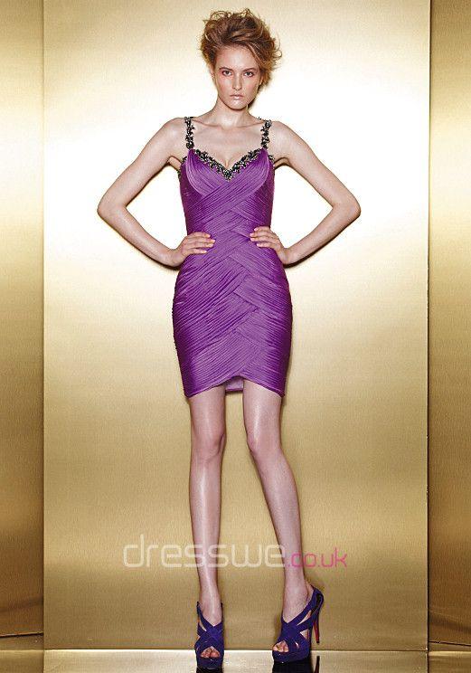 Distinct Spaghetti Straps Column Short/Mini Ruffles Chiffon Summer Cocktail Dress