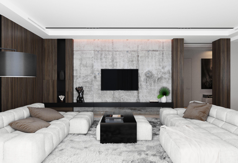 Living room l i v i n g l o u n g e in 2019 interior - Betonwand wohnzimmer ...
