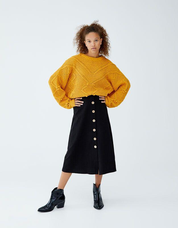 Tener cuidado de salida de fábrica talla 7 Midi skirt with front buttons - PULL&BEAR | Skirt | Winter ...