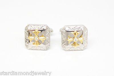 CARL BLACKBURN Neo Renaissance Cufflinks with 2.0mm Bezel Set Diamond & Ornament