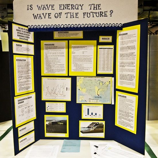 science fair project displayed on an elmers tri fold display board