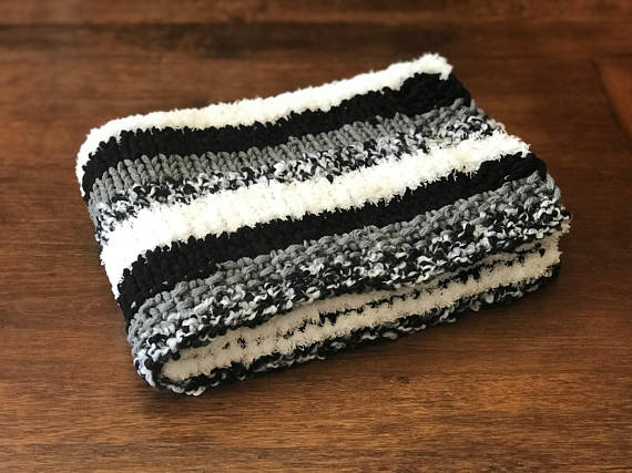 HandKnit Baby Blanket Chunky Knit Stripe Blanket Bernat Home Impressive Bernat Home Bundle Yarn Patterns