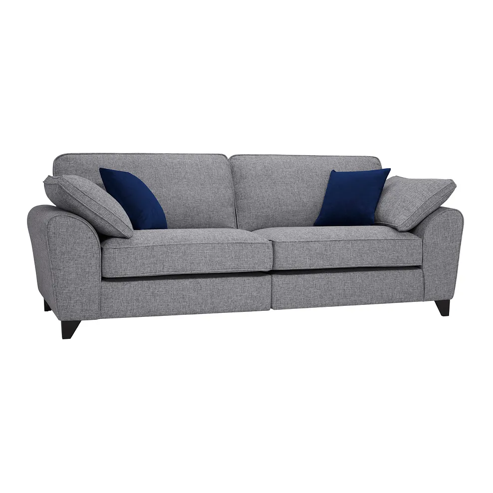Robyn Silver 4 Seater Sofa In Fabric Oak Furnitureland In 2020 Blue Fabric Sofa Seater Sofa Oak Furnitureland