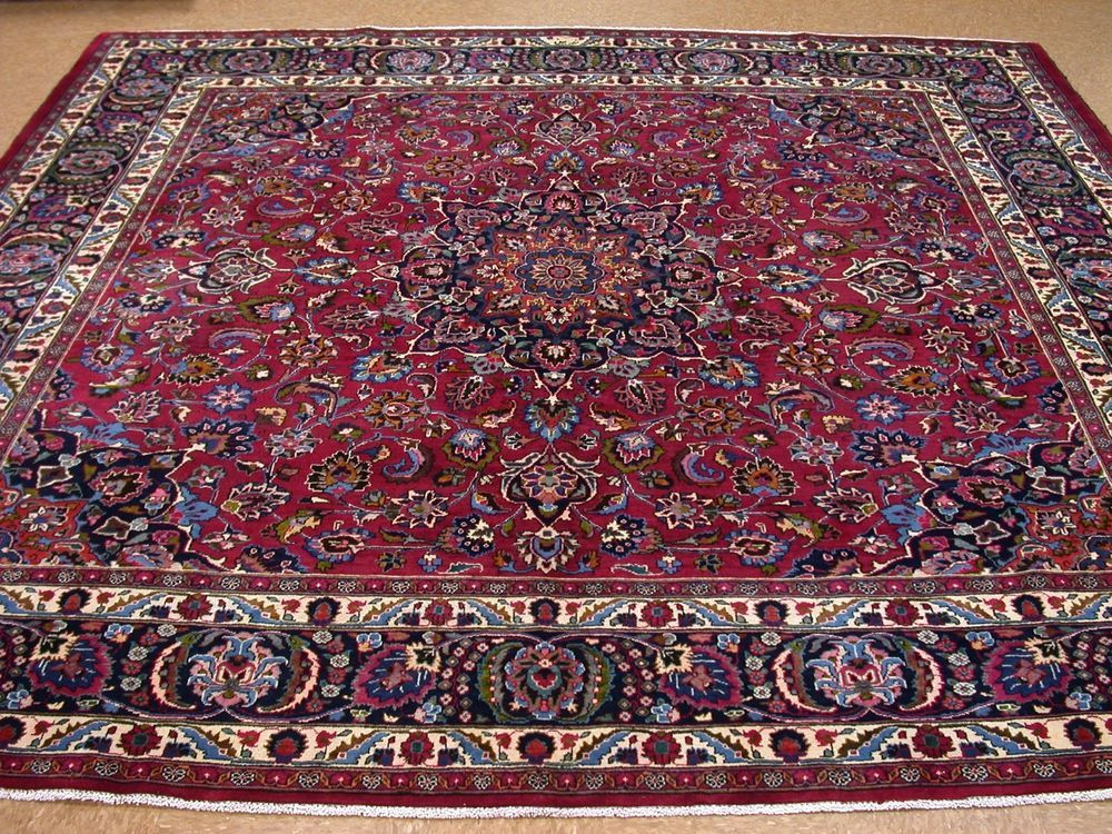 10 X 10 Persian Mashad Hand Knotted Wool Red Blue Square