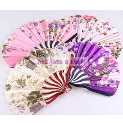 Hot Chinese Traditional Colorful Flower Printing Vintage Bamboo Fabric Hand Fan Folding Fan Party(Random Color)