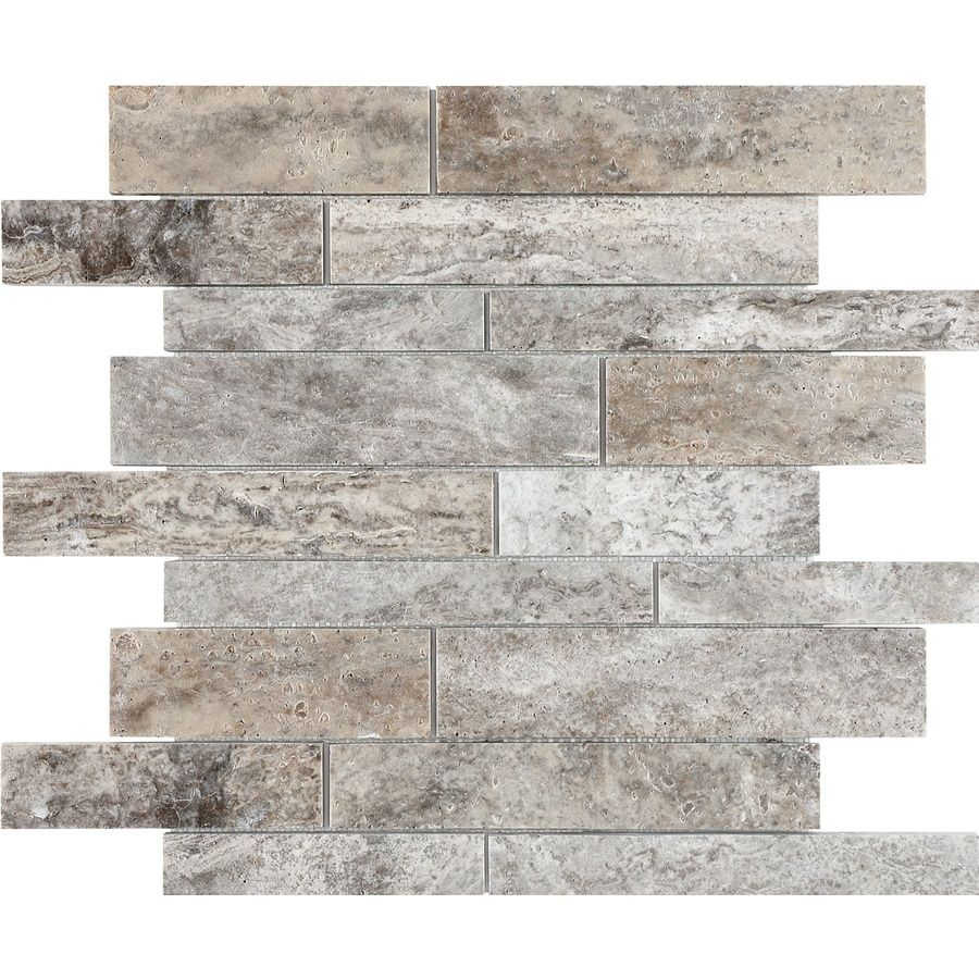 Silver Travertine Backsplash: Anatolia Tile Silver Ash Linear Mosaic Travertine Wall