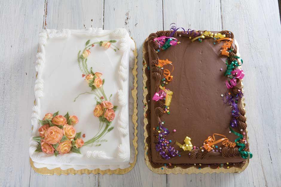 Sheet cakes ~ used the ribbon decoration idea today ...
