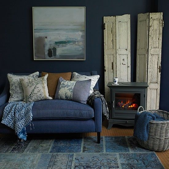 Modern Country Style Anne Turner S Cottage Living Kitchen: Deep Indigo Blue Living Room