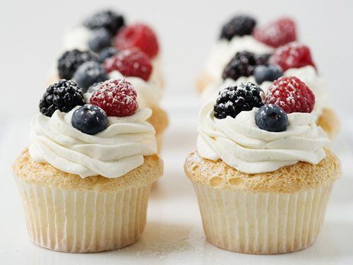 Angel Food Cupcakes with Whipped Cream and Berries