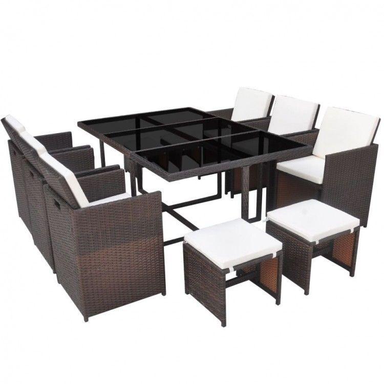 Rattan Garden Furniture Set 10 Seater Outdoor Dining Table Patio