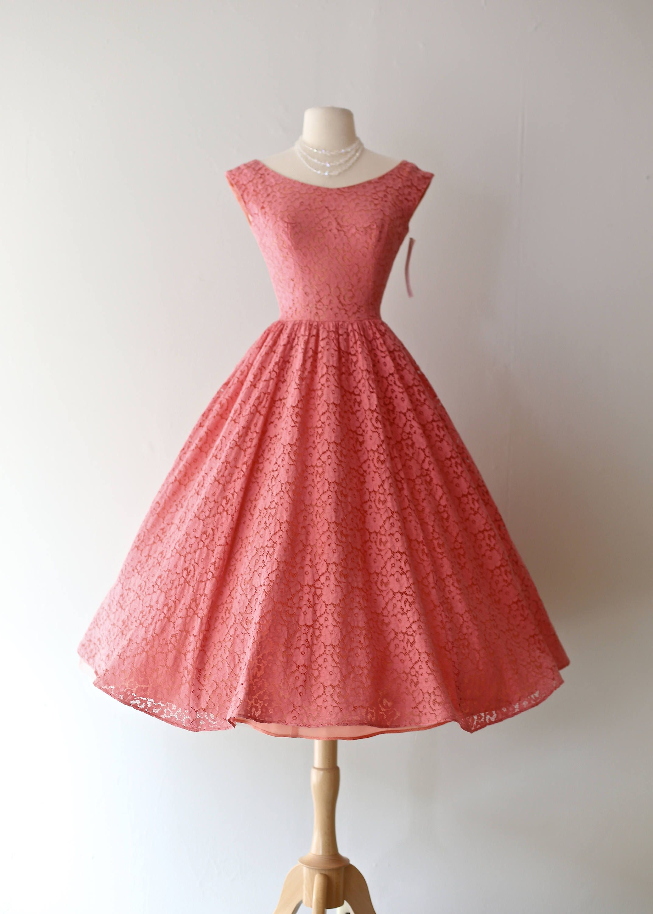Vintage 1950\'s Coral Lace Party Dress With Full Skirt ~ Vintage 50s ...