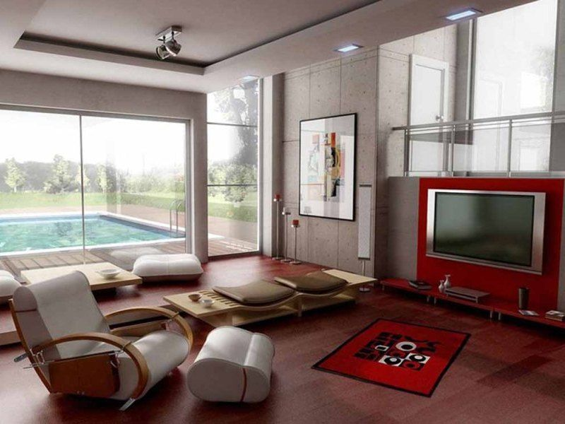 Classy Small Apartment Living Room Red Interior