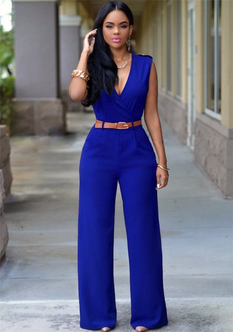 b6949624c35 2016 fashion woman rompers and jumpsuit famous brand sleeveless casual jumpsuit  v-neck full length sexy summer jumpsuit women