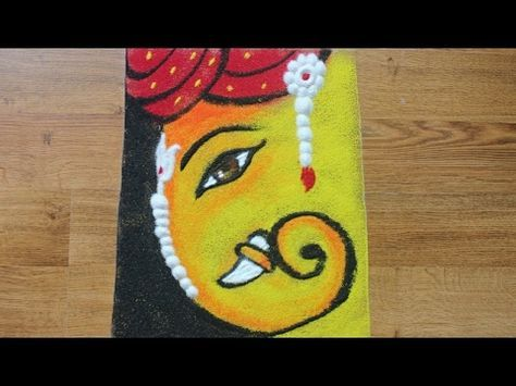 simple and unique free hand ganesha rangoli for competition diwali youtube also rh pinterest