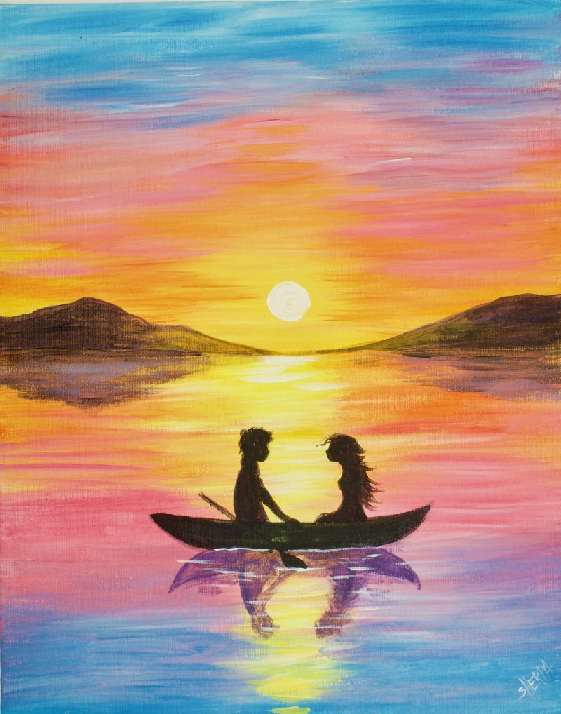 Easy Painting Of A Couple In A Boat At Sunset Watercolor