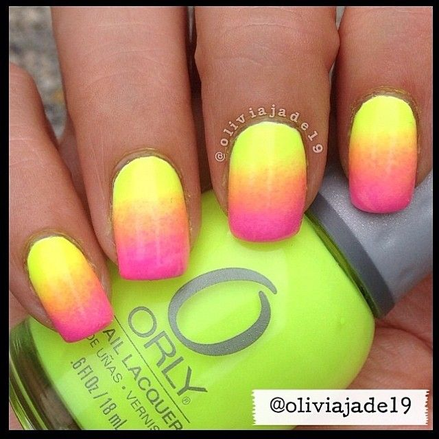 Neon ombre by orly | Nailed It Ombre Designs | Pinterest