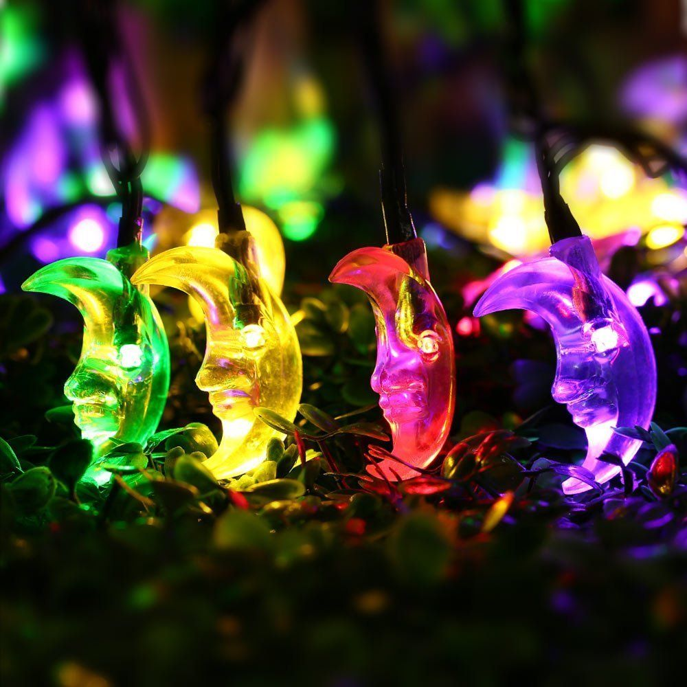Luckled 20ft 30 led moon solar string christmas lights with sensor christmas lights mozeypictures Choice Image