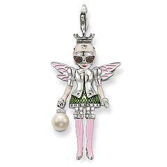 T0323-043-6.  Thomas Sabo.  doll  Pendant with lobster clasp  925 Sterling silver, blackened  black syn. zirconia and white syn. zirconia-pavé  with hand-crafted, white imitation pearl  green, grey, pink and white-enamelled  The garden fairy with her cheeky pink boots and cool 1950s shades bears a hand-crafted imitation pearl in her hand: a jewel with fabulous details and offering an abundance of styling possibilities as a result of the wonderful colours.   Size: 5.1 cm