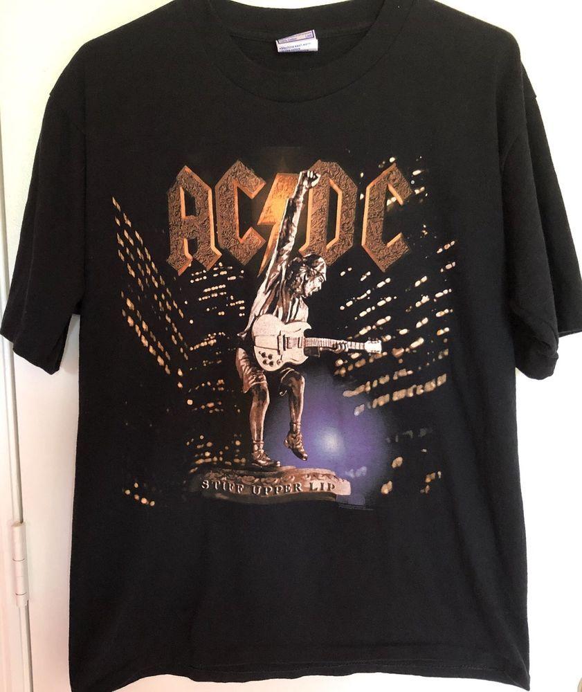 Acdc Vintage T Shirt Stiff Upper Lip Concert Tour 2000 Hard Rock Music Allsportevents Graphictee Vintage Tshirts Mens Tops Hard Rock Music