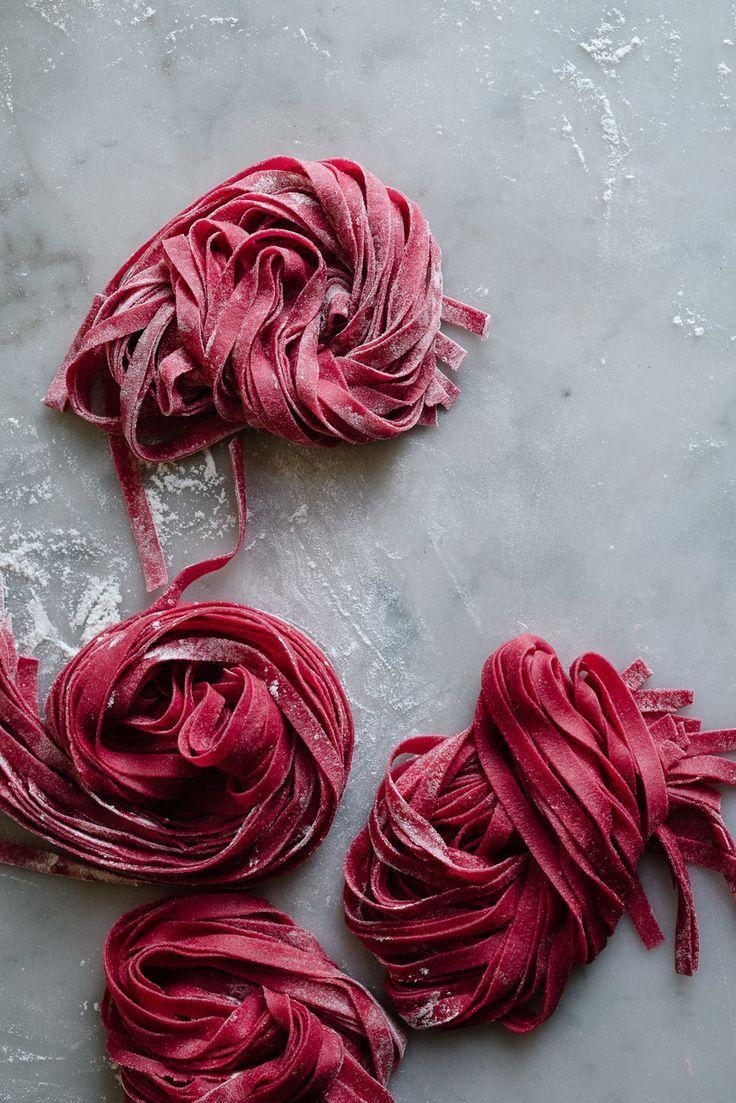 Fresh beet pasta and pesto