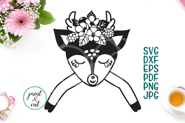 Deer with flowers svg, baby deer eyelashes svg, deer face