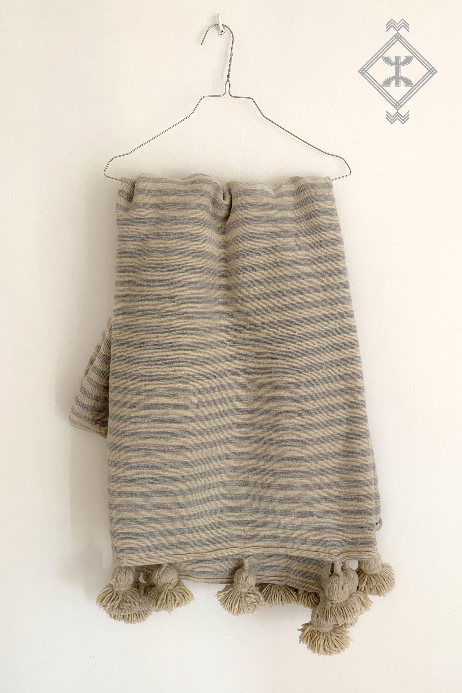 Xl Moroccan Berber Decke Pompoms Handgewebt Baumwolle Streifen