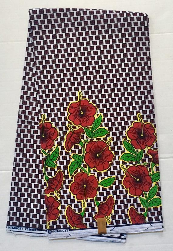 Afrikanischen Druck Stoff / Ankara - rot, gelb, grün 'Checkered Blossom v2.0', YARD oder WHOLESALE #afrikanischerdruck
